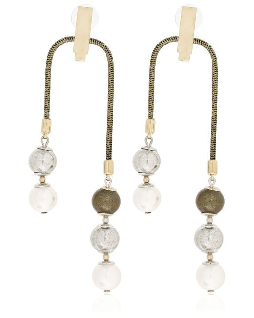 Lanvin - Metallic Faux Pearl Earrings - Lyst