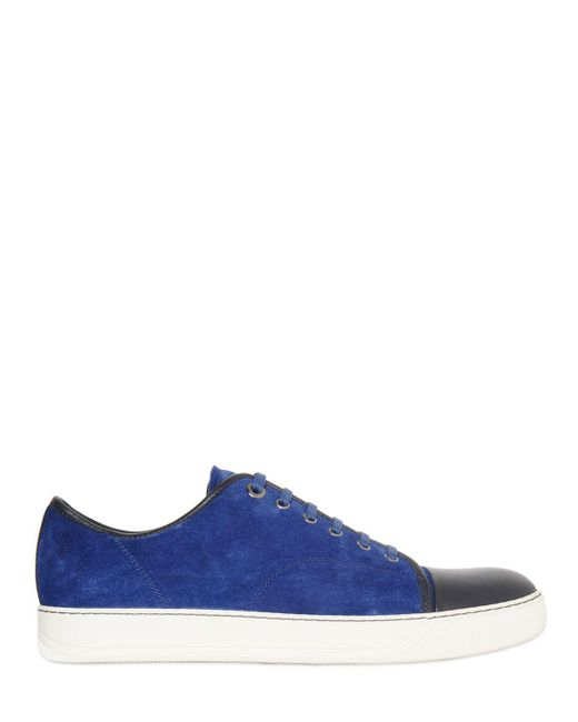 Lanvin - Blue Sneakers In Pelle E Camoscio for Men - Lyst