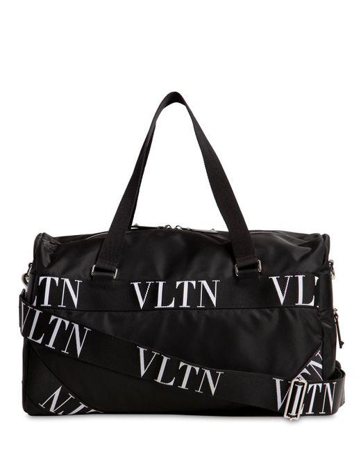 ... Valentino - Black Small Vltn Logo Nylon Boston Bag for Men - Lyst ... 39178c2981c51