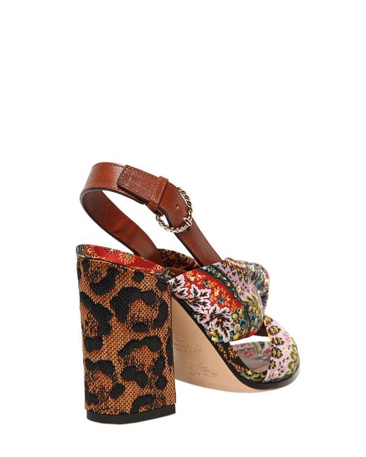 Free Shipping Outlet Store Order Cheap Online Etro 95MM PAISLEY SATIN & RAFFIA HEEL SANDALS eBBP6
