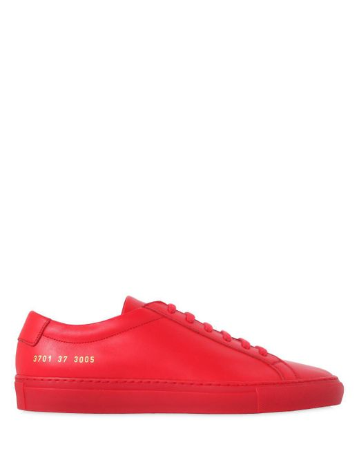 Common Projects - Red Achilles Original Leather Low-Top Sneakers for Men - Lyst