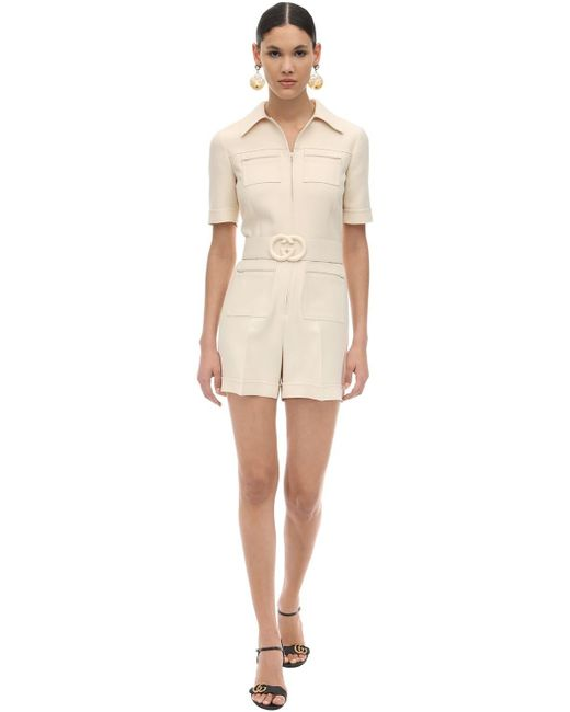 Gucci White Short Belted Wool & Silk Cady Jumpsuit