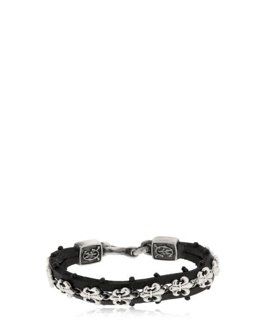Cantini Mc Firenze - Black Fleur-de-lis Silver & Leather Bracelet for Men - Lyst