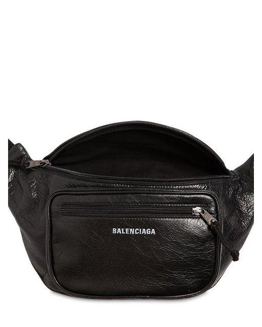 9770c27fc855 ... Balenciaga - Black Logo Detail Leather Belt Bag for Men - Lyst ...