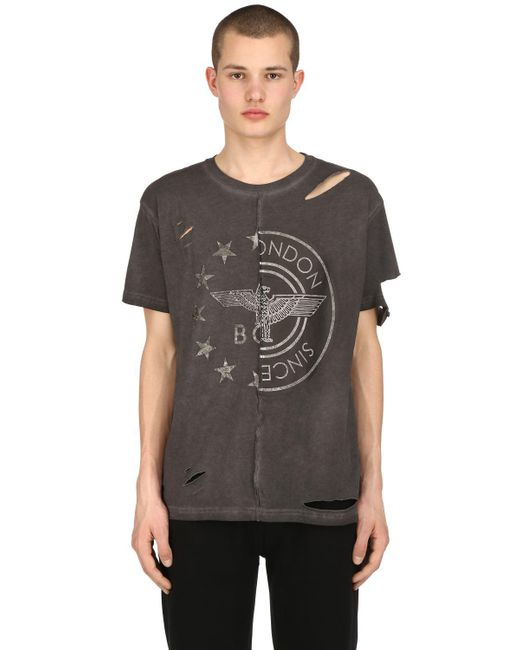 BOY London - Gray Destroyed Patchwork Jersey T-shirt for Men - Lyst