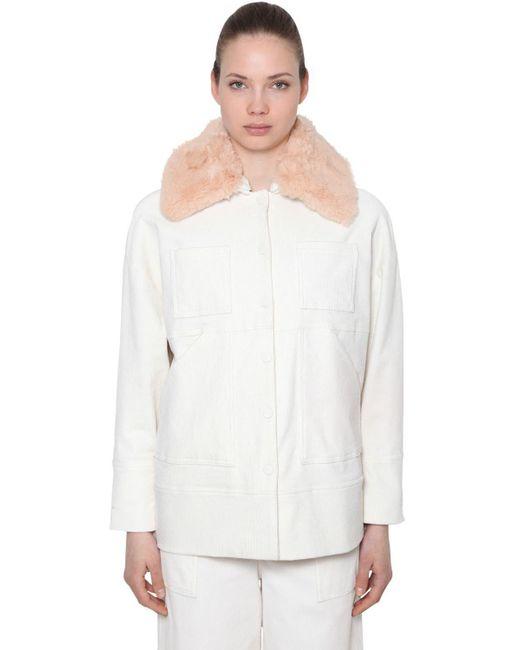 Ganni - White Corduroy Jacket W/ Faux Fur Collar - Lyst