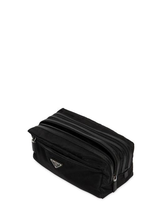 5c0c87145343 ... discount prada black dual compartment nylon toiletry bag for men lyst  100 . 7931b 5bf58