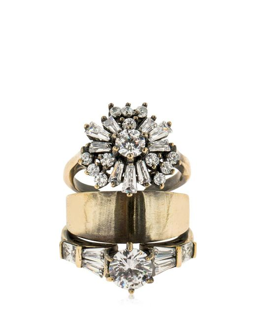 Iosselliani - Metallic Stacked Ring W/ Crystals - Lyst