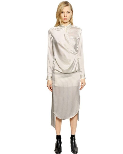 Each x Other | White Pinstriped Silk Satin Shirt Dress | Lyst