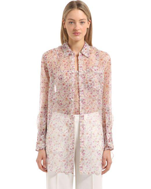 Calvin Klein | Pink Floral Printed Silk Shirt | Lyst