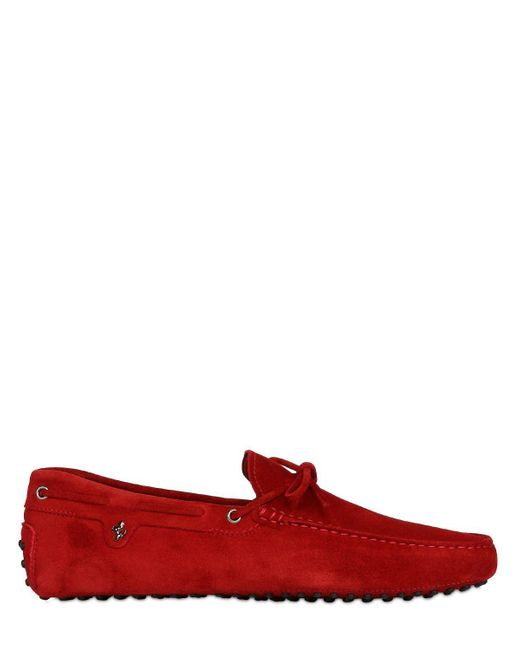 Tod's | Red 22 Gommino 122 Tie Suede Driving Shoes for Men | Lyst