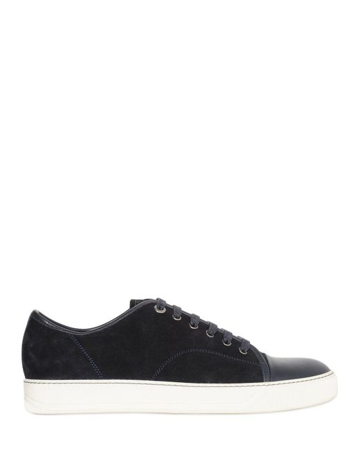 Lanvin - Blue Suede & Smooth Leather Sneakers for Men - Lyst