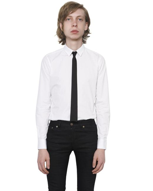 Saint Laurent - White Cotton Poplin Shirt for Men - Lyst