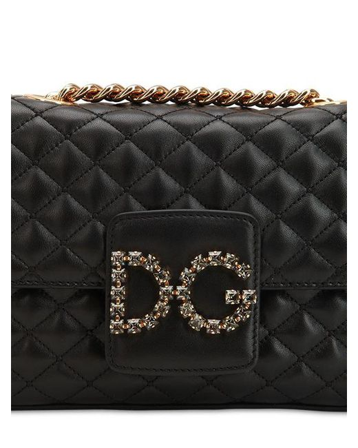 067dbf0e3fa5 Lyst - Dolce   Gabbana Quilted Leather Shoulder Bag in Black - Save 18%