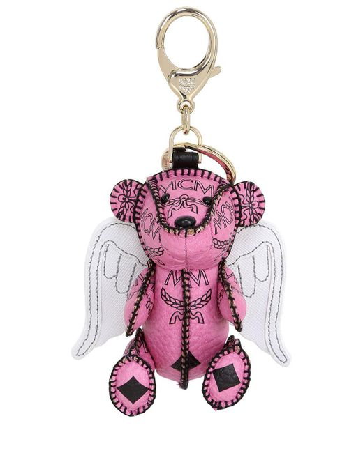 MCM | Pink Bear & Wings Faux Leather Bag Charm | Lyst