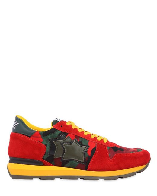 Atlantic Stars - Red Sirius Suede & Nylon Running Sneakers for Men - Lyst