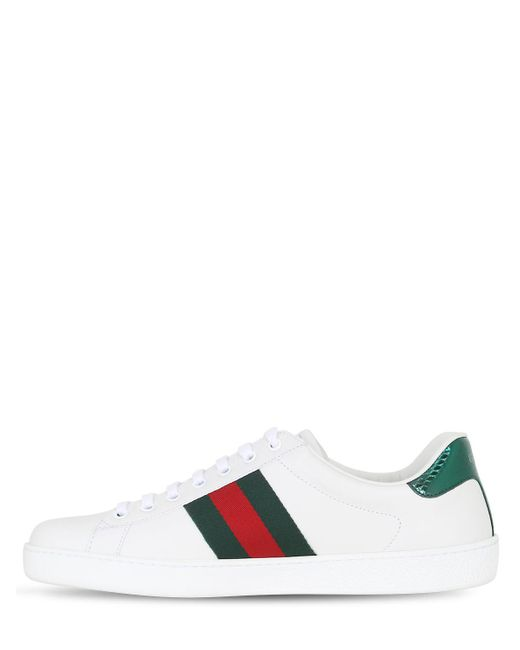 GucciNEW ACE BEE WEB LEATHER SNEAKERS W/ AYER OcDOCD