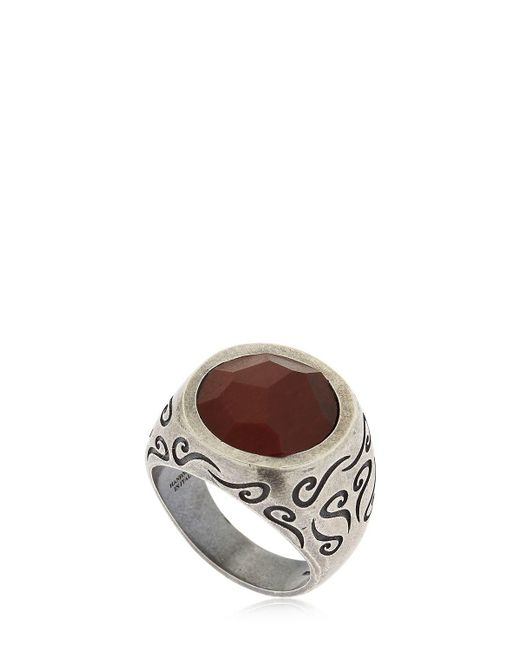 MARCO DAL MASO - Metallic Ara Engraved Silver Ring W/ Tiger's Eye for Men - Lyst