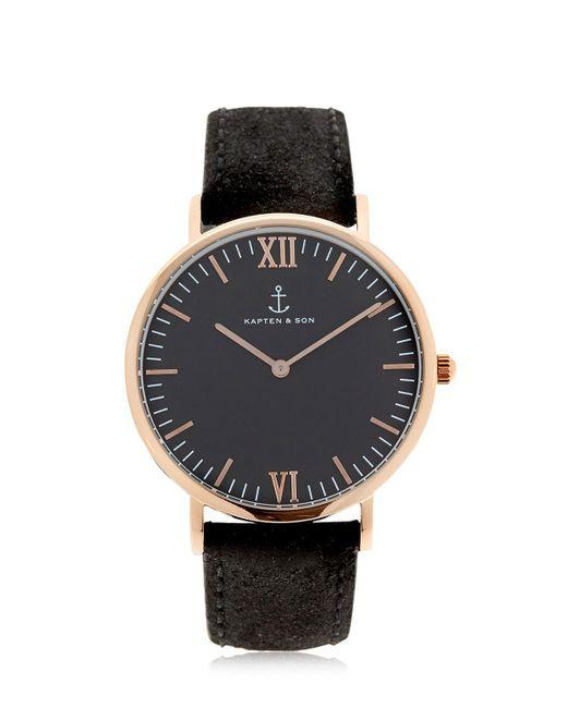 KAPTEN & SON - Metallic 40mm Vintage Leather Watch - Lyst