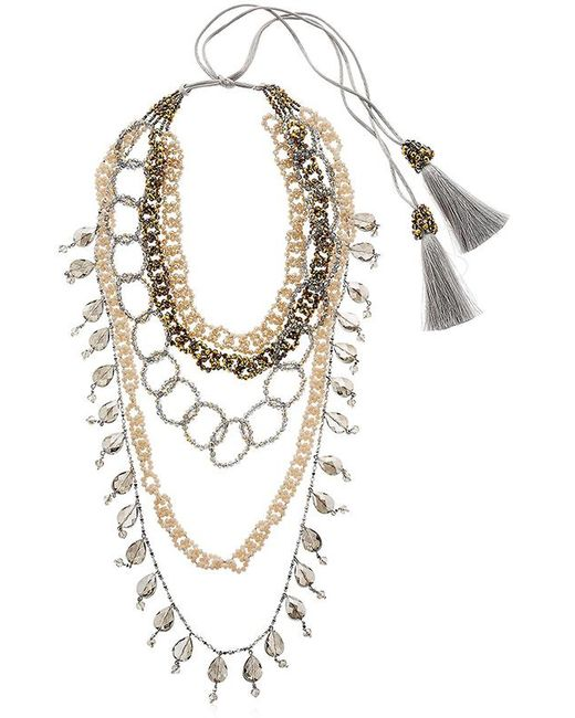 Night Market | Metallic Dropped Multi Chain Beaded Necklace | Lyst