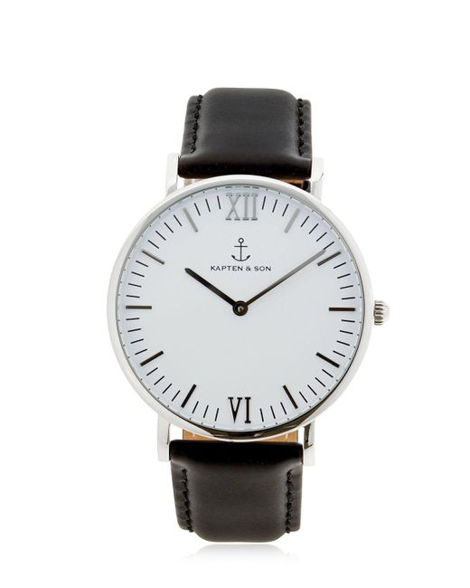 lyst kapten son 40mm leather watch in metallic. Black Bedroom Furniture Sets. Home Design Ideas