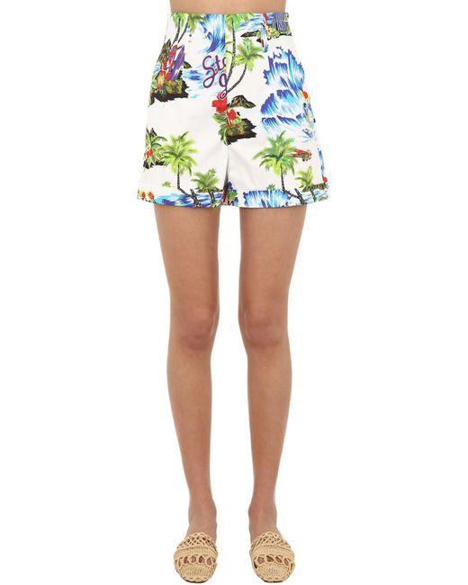 85300f8a4b Shorts De Algodón Con Estampado Floral Stella Jean de color Blanco ...
