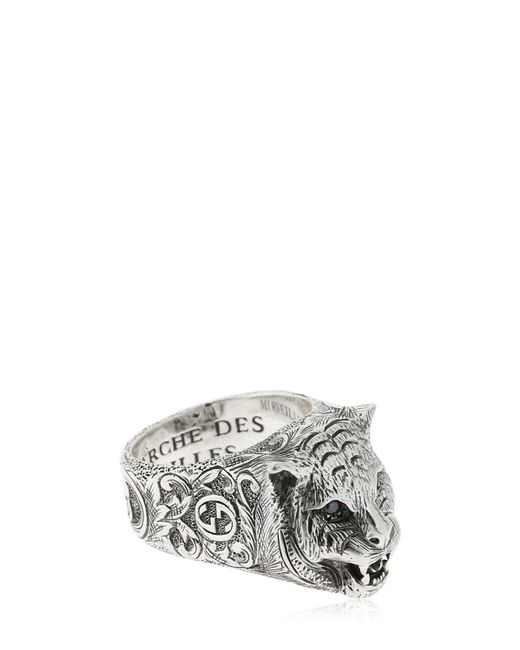 """Gucci - Metallic Anillo """"angry Cat"""" for Men - Lyst"""
