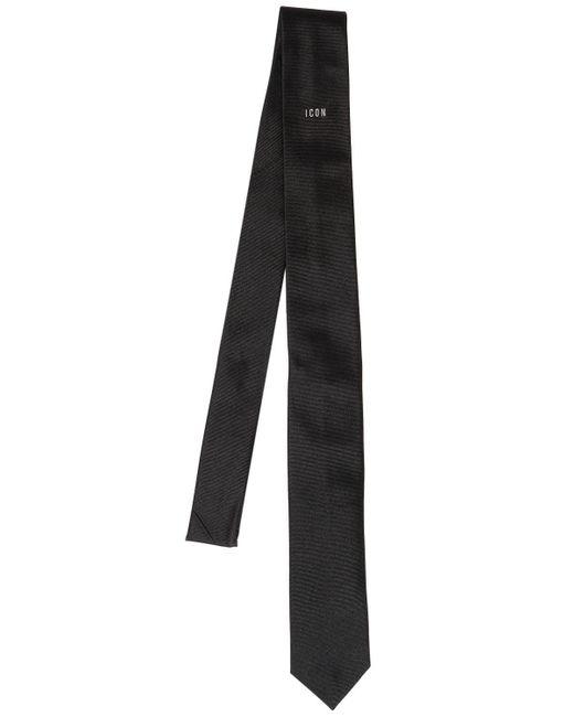"DSquared² - Black Corbata ""icon"" De Seda Bordada 5cm for Men - Lyst"