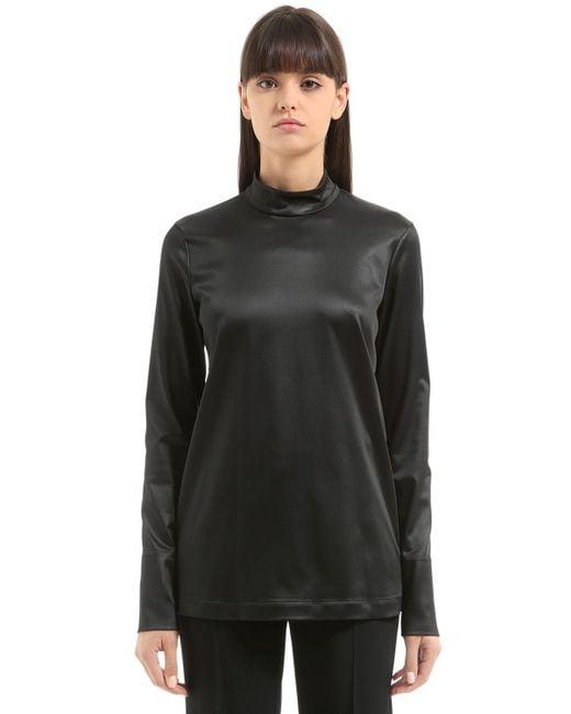 Jil Sander - Black Stretch Satin Shirt - Lyst