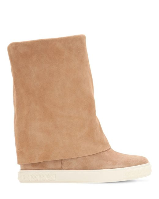 ab6d5538b2c Casadei - Natural 80mm Suede Wedge Sneakers - Lyst ...