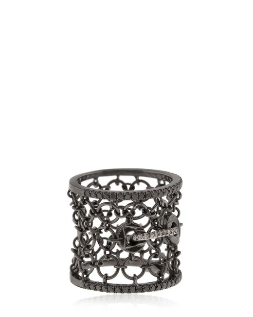 Colette - Black Entwined Mesh Corset Ring For Lvr - Lyst