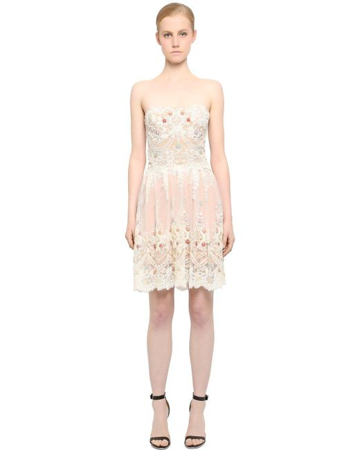 Fabiana Milazzo   Natural Embellished Strapless Lace Dress   Lyst