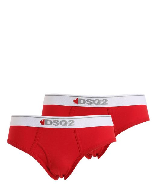 DSquared² - Red Pack Of 2 Cotton Jersey Briefs for Men - Lyst