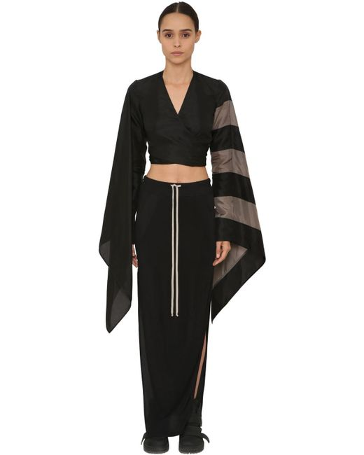 86ba80a388ec4 Rick Owens - Black Striped Japonette Crop Top - Lyst ...