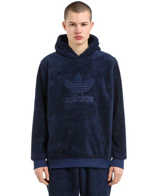 """Adidas Originals - Blue """"Kapuzensweatshirt Aus Plüsch """"""""winterized"""""""""""" for Men - Lyst"""