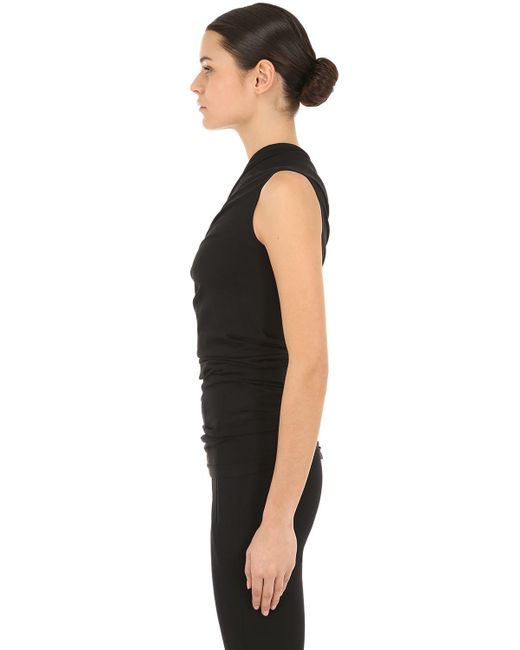 49d14241d12d2 ... Rick Owens - Black One Shoulder Cotton Jersey Top - Lyst ...