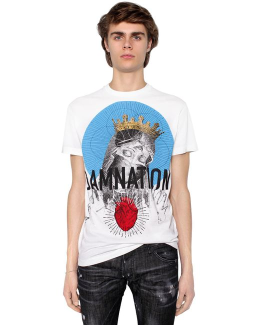 DSquared² | White Printed Cotton Jersey T-shirt for Men | Lyst