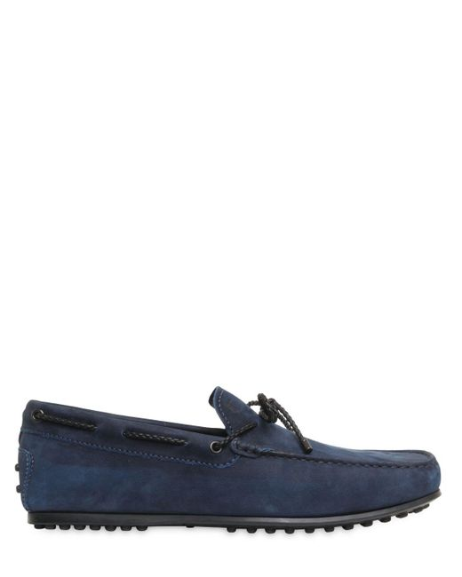 Tod's | Blue City Gommino Delavè Nubuck Loafers for Men | Lyst