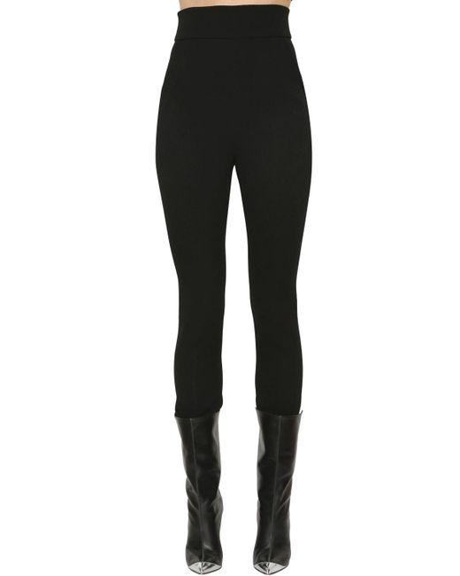 David Koma - Black High Waist Straight Wool Crepe Pants - Lyst