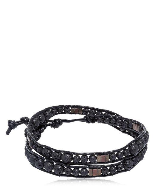 Colana | Black Lava & Hematite Beads Wrap Bracelet | Lyst