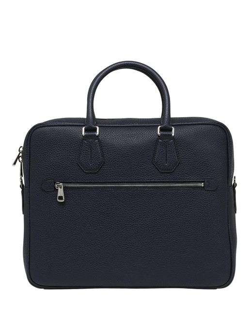 Bally - Blue Pebbled Leather Briefcase for Men - Lyst