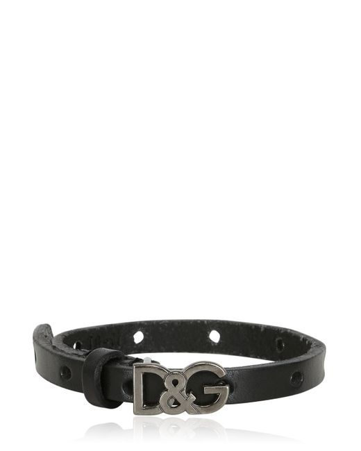 Dolce & Gabbana | Black Metal Logo Leather Bracelet for Men | Lyst