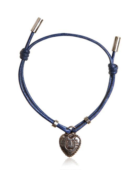 Dolce & Gabbana | Blue Waxed Strap & Metal Chain Bracelet for Men | Lyst