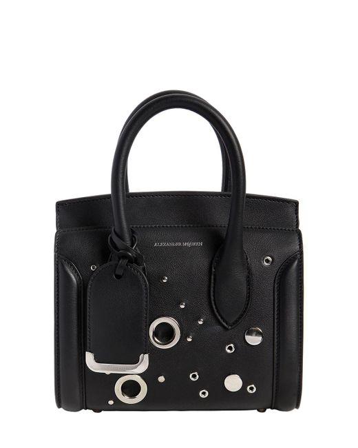 Alexander McQueen | Black Mini Leather Heroine Bag W/ Eyelets | Lyst
