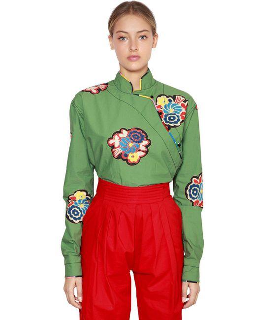 Philosophy Di Lorenzo Serafini - Green Floral Print Japanese Cotton Blouse - Lyst