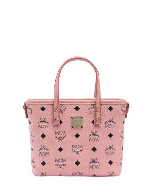 MCM - Pink Anya Top Zip Shopper In Visetos - Lyst