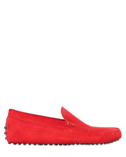 Tod's | Red Gommino Suede Driving Shoes for Men | Lyst