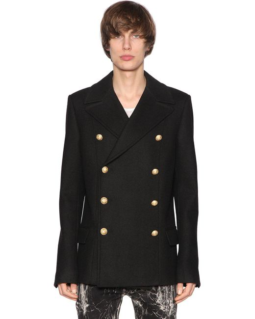 Balmain   Black Double Breasted Wool Cloth Coat for Men   Lyst