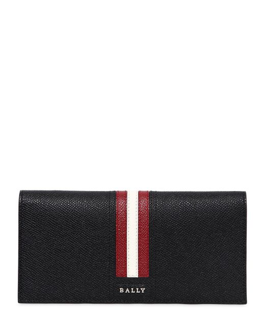 Bally - Black Striped Saffiano Leather Wallet for Men - Lyst
