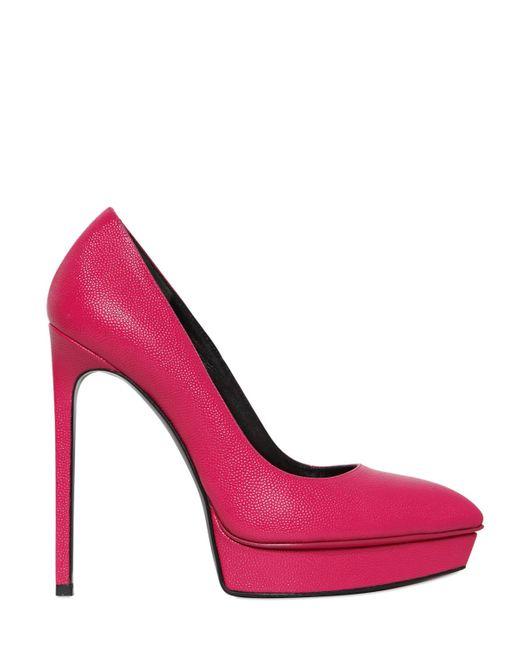 Saint Laurent | Pink 130mm Janis Tumbled Leather Pumps | Lyst